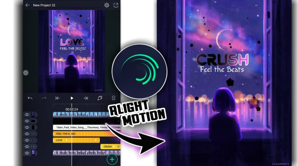 Alight motion lyrics video editing
